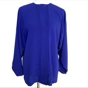 Howard Wolf Button Down Blouse Size Large Blue